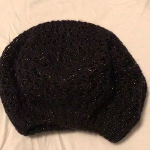 Black beanie/beret with gold accents